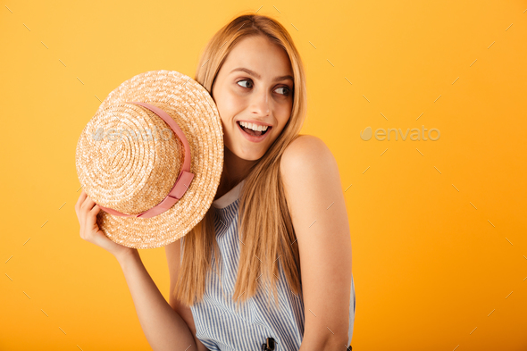 Portrait of a smiling young blonde woman - Stock Photo - Images
