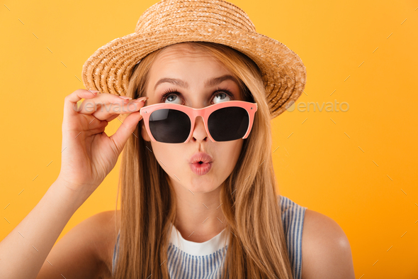 Close up portrait of a pretty young blonde woman - Stock Photo - Images