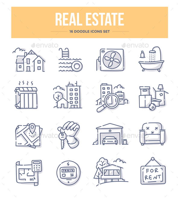Real Estate Doodle Icons - Miscellaneous Icons