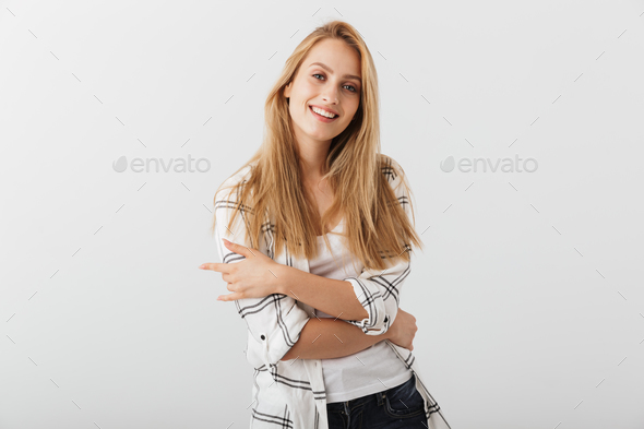 Portrait of a cheerful young casual girl - Stock Photo - Images