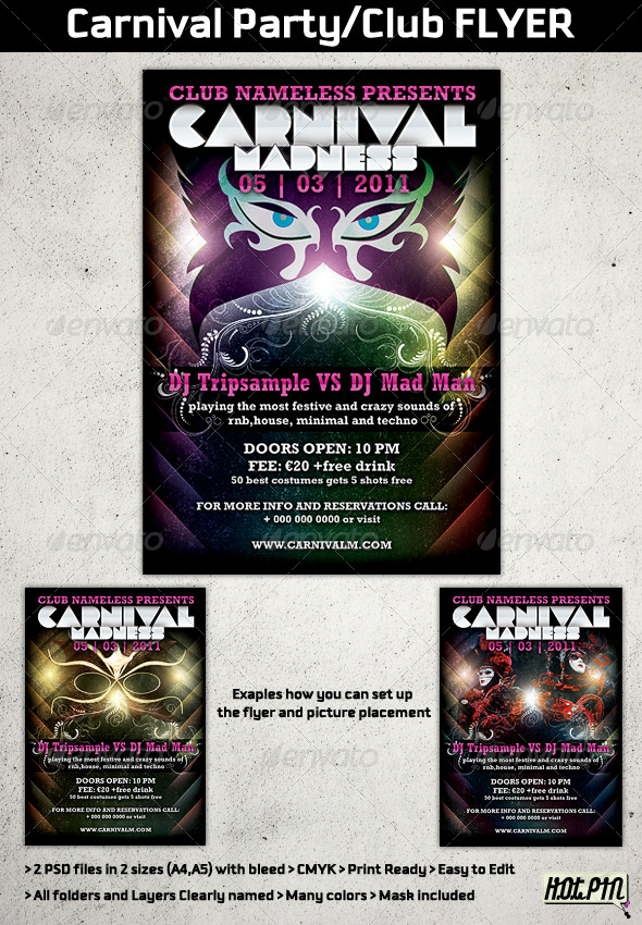 Carnival Party/Club Flyer Template - Clubs & Parties Events