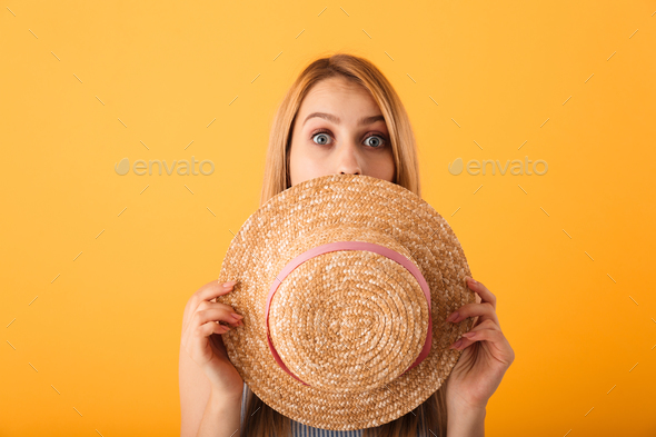Portrait of a cheerful young blonde woman posing - Stock Photo - Images
