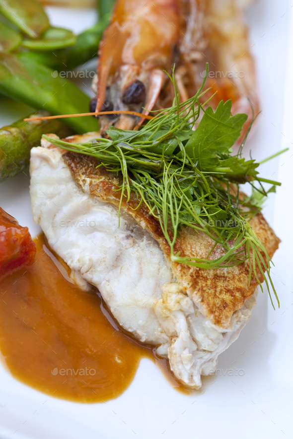 Cod fillet and vegetable - Stock Photo - Images