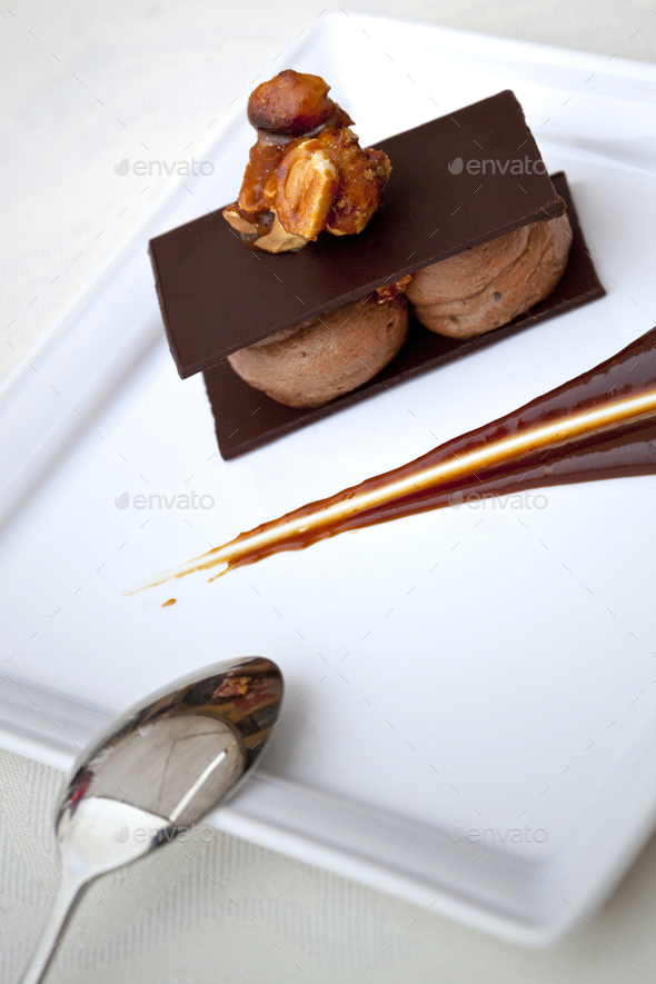 Chocolate dessert on a plate - Stock Photo - Images