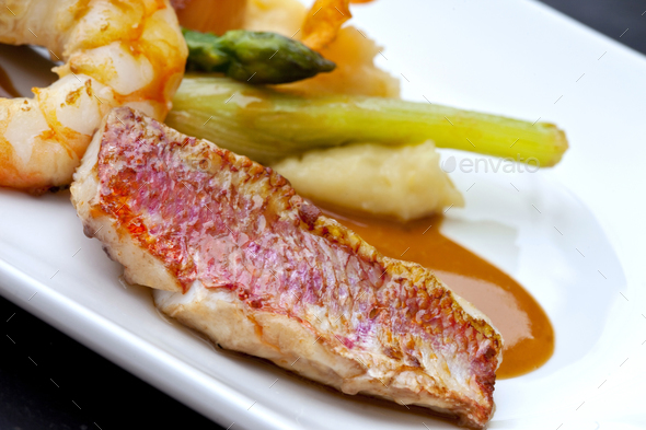 Red mullet and vegetable - Stock Photo - Images