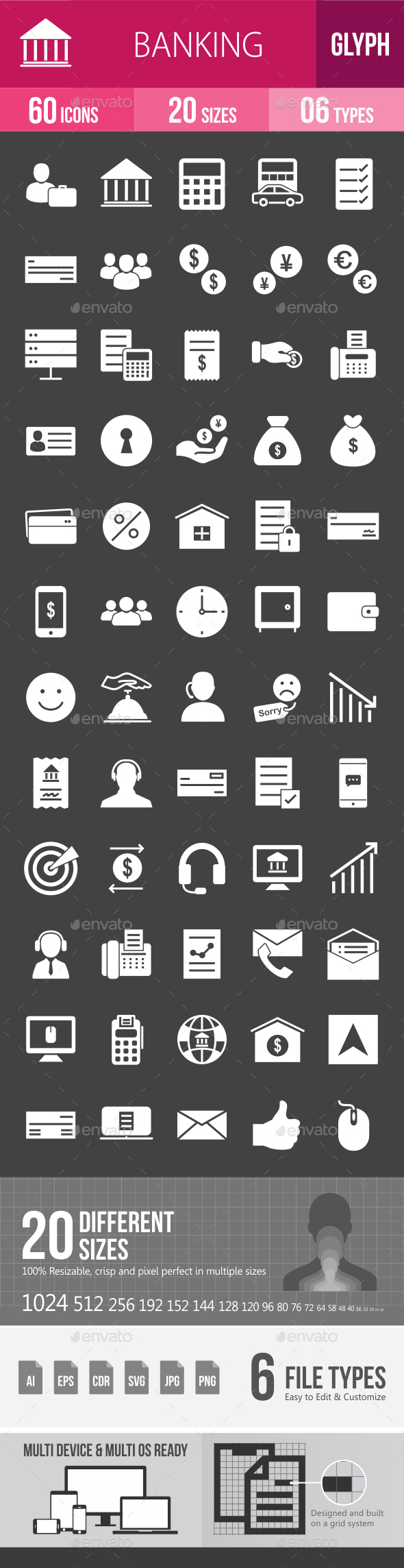 Banking Glyph Inverted Icons - Icons