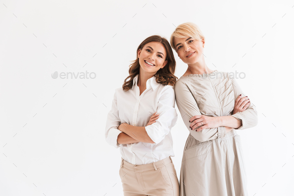 Portrait of two caucasian women mother and daughter standing tog - Stock Photo - Images