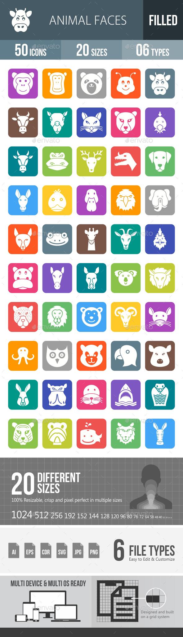Animal Faces Flat Round Corner Icons - Icons
