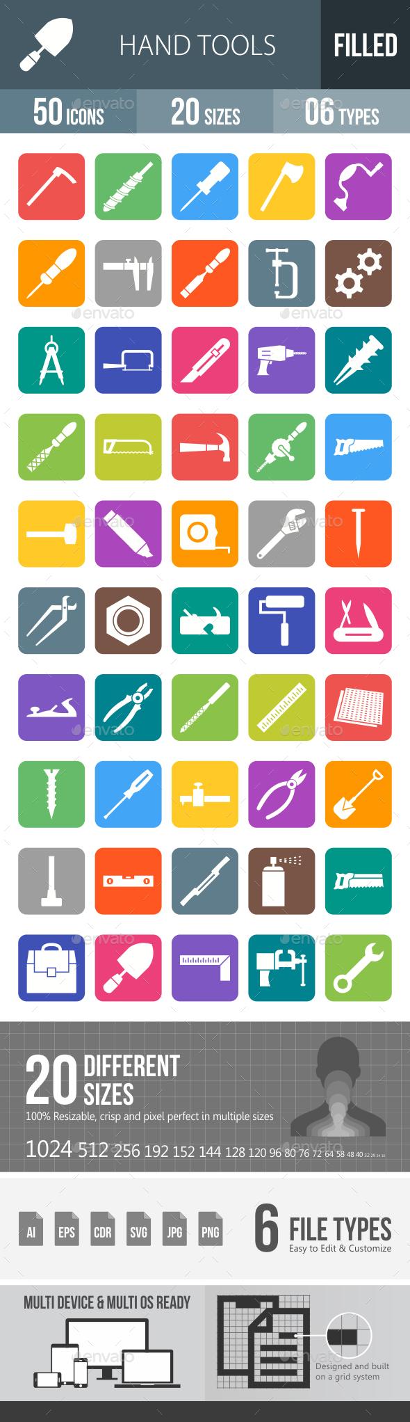 Hand Tools Flat Round Corner Icons - Icons