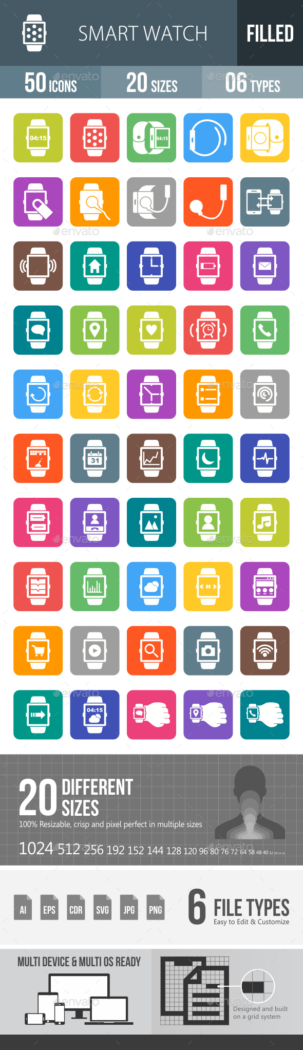 Smart Watch Flat Round Corner Icons - Icons