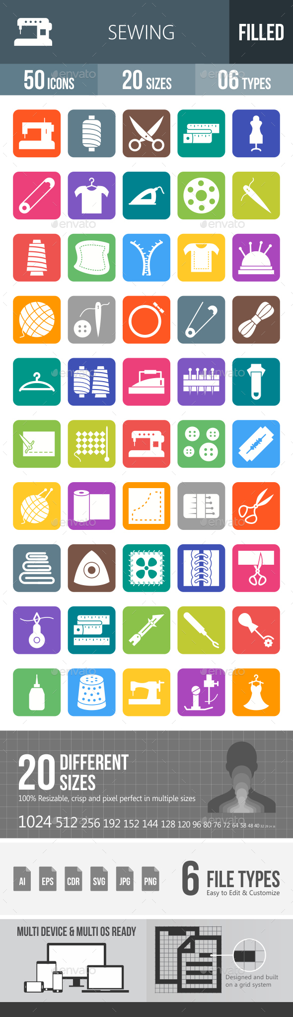Sewing Flat Round Corner Icons - Icons