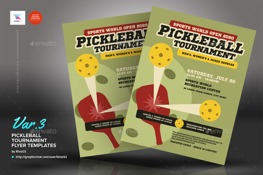 pickleball tournament flyer templates by kinzi21 graphicriver