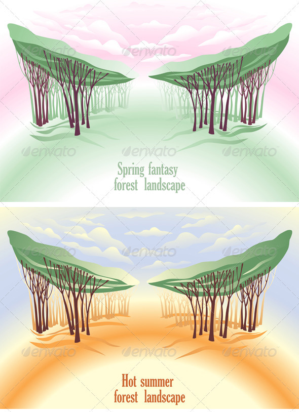 Spring Fantasy Forest Landscape - Backgrounds Decorative