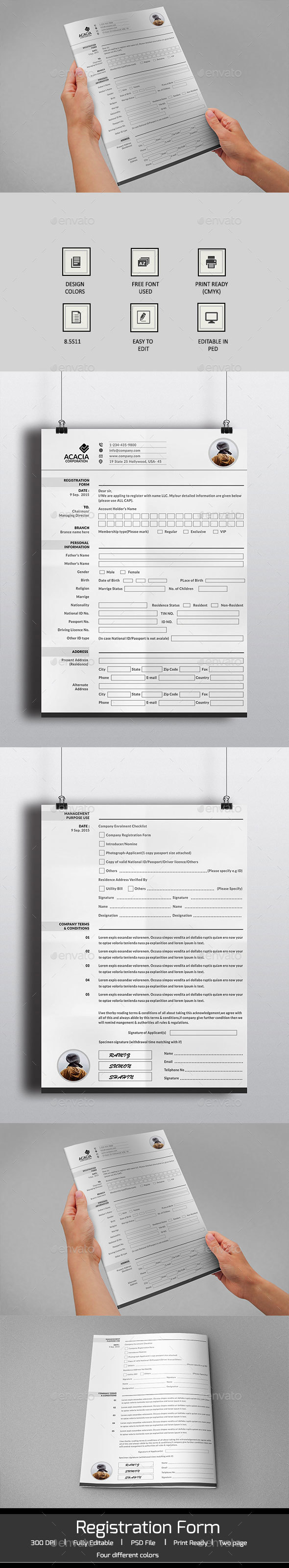 2 Page Registration Form - Miscellaneous Print Templates
