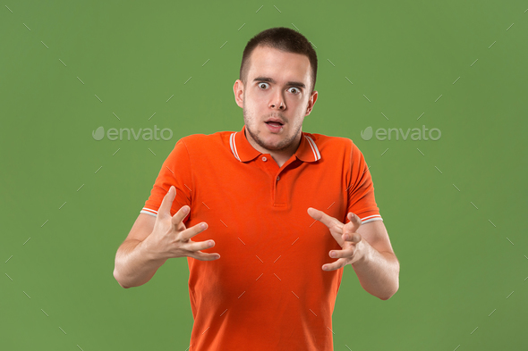 The young emotional angry and scared man  - Stock Photo - Images