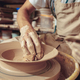 Creating a jar or vase of white clay close-up. Master crock. Man hands making clay jug macro. - PhotoDune Item for Sale