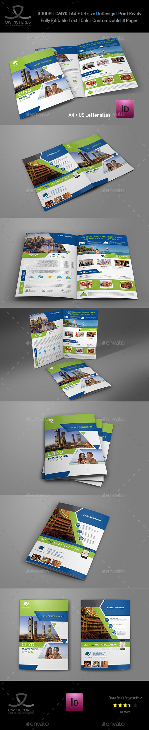 Travel Guide Bi-Fold Brochure Template - Brochures Print Templates