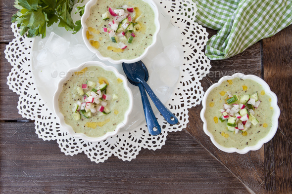 Iced cucumber soup - Stock Photo - Images