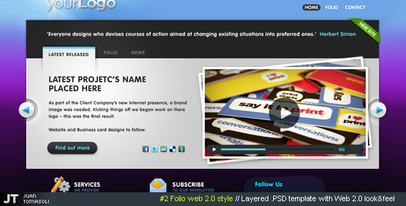 Free Download #2 Folio web 2.0 style, PSD theme Nulled Latest Version