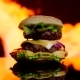 Delicious Burger Is on Fire on the Black Mirror Surface - VideoHive Item for Sale