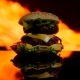 Savory Burger Is Cooked on Fire - VideoHive Item for Sale
