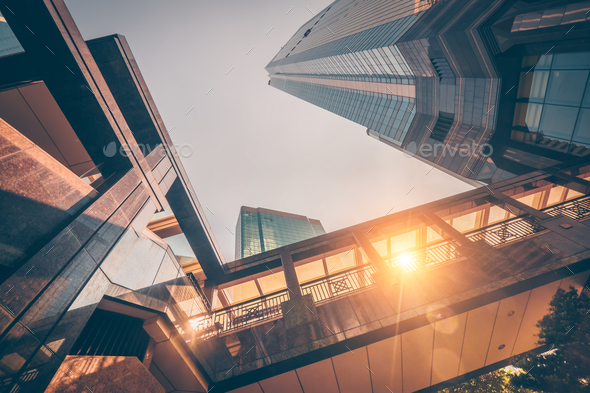 Amazing futuristic cityscape view in sunset. Hong Kong - Stock Photo - Images