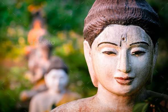 Buddhas statues in Loumani Buddha Garden. Myanmar - Stock Photo - Images