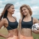 Members Of Female High School Soccer Team, Two Fit Sexy Skinny Womans Portrait Girls Outdoor Happy - VideoHive Item for Sale
