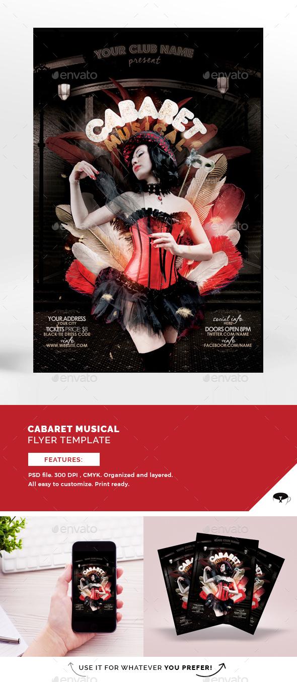 Cabaret Musical Flyer Template - Flyers Print Templates