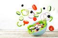 Greek Salad with flying ingredients - PhotoDune Item for Sale