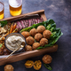 Arabian meze food falafel, beef, babaghanous, fried cauliflower, beans. - PhotoDune Item for Sale