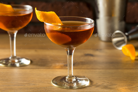 Alcoholic Martinez Cocktail with Gin - Stock Photo - Images
