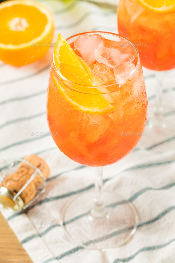 Alcoholic Aperol Spritz with Champagne - Stock Photo - Images