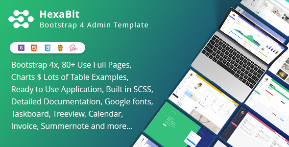 HexaBit - Bootstrap 4x light & Dark Admin + ui kit - Admin Templates Site Templates