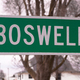 A Simple Green Sign Marks the City Limit of Boswell Indiana - PhotoDune Item for Sale