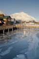 Local Boardwalk over Resurrection Bay in Seward Alaska USA