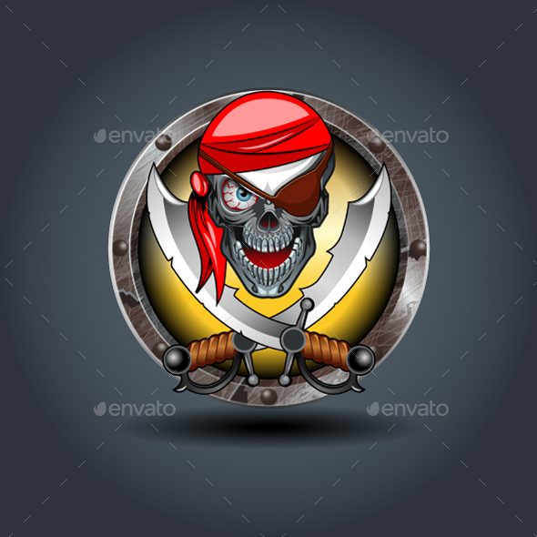 Pirate Rusty Iron Rounded Badge Icon - Monsters Characters