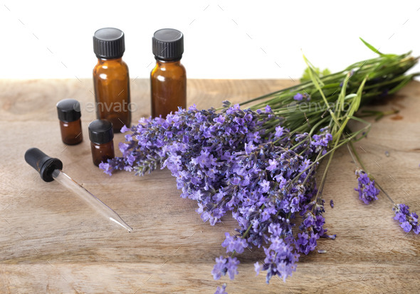 lavender and essential oils - Stock Photo - Images