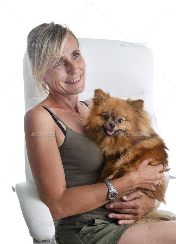 woman and spitz - Stock Photo - Images
