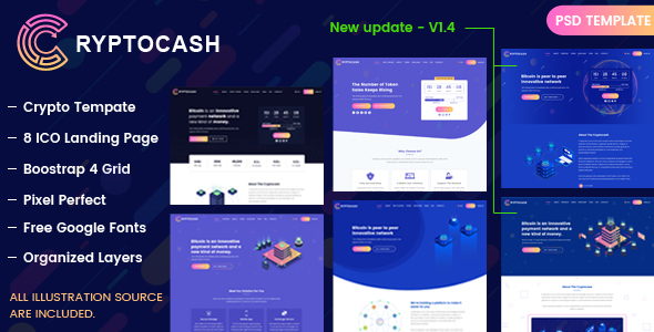 Cryptocash - ICO & Cryptocurrency Landing Page PSD Template - Technology PSD Templates