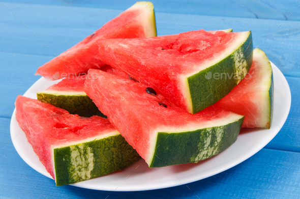 Slice of watermelon on plate, concept of healthy delicious dessert - Stock Photo - Images
