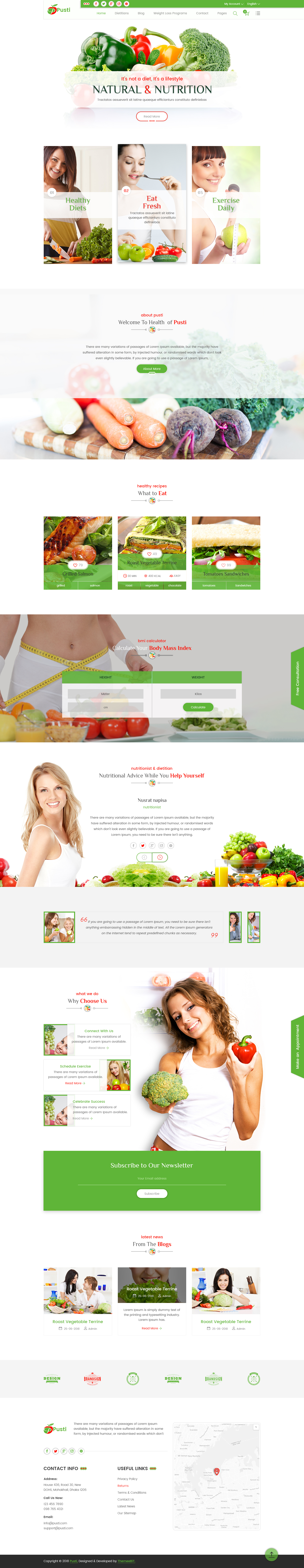 Pusti Nutrition Natural Diet Consultancy Center Psd Template By
