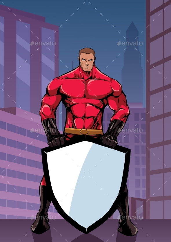 Superhero Holding Shield in City Vertical - People Characters