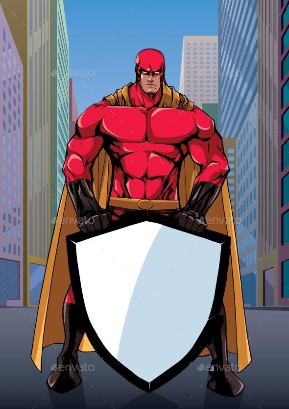 Superhero Holding Shield on Street - People Characters