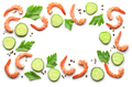 frame of boiled prawns and fresh cucumber - PhotoDune Item for Sale