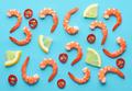 pattern of prawns, lemon and chili - PhotoDune Item for Sale
