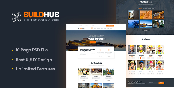 Buildhex Construction/Renovation/Interior PSD Template - Business Corporate