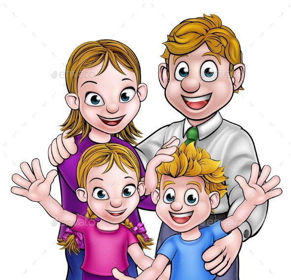 Cartoon Parents and Children - People Characters