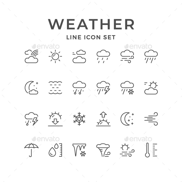 Set Line Icons of Weather - Man-made objects Objects