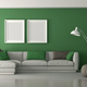 White and green modern living room - PhotoDune Item for Sale